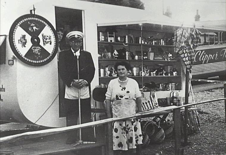 William Davis and his wife, Violet, with fund raising chocolate wheel