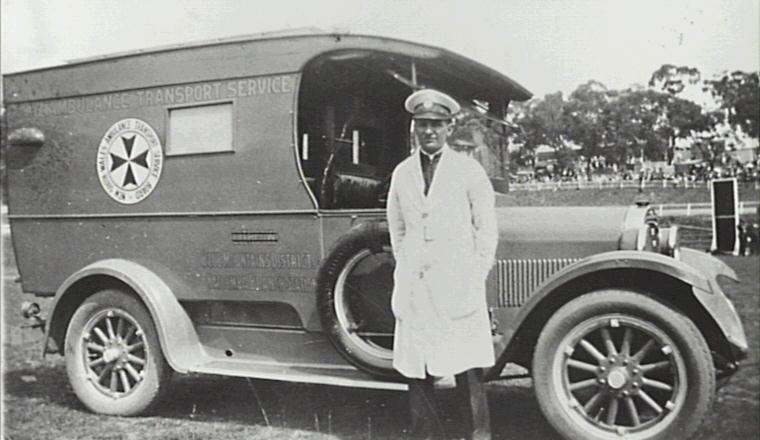 William Davis and Katoomba's first ambulance, a 1926 Dodge