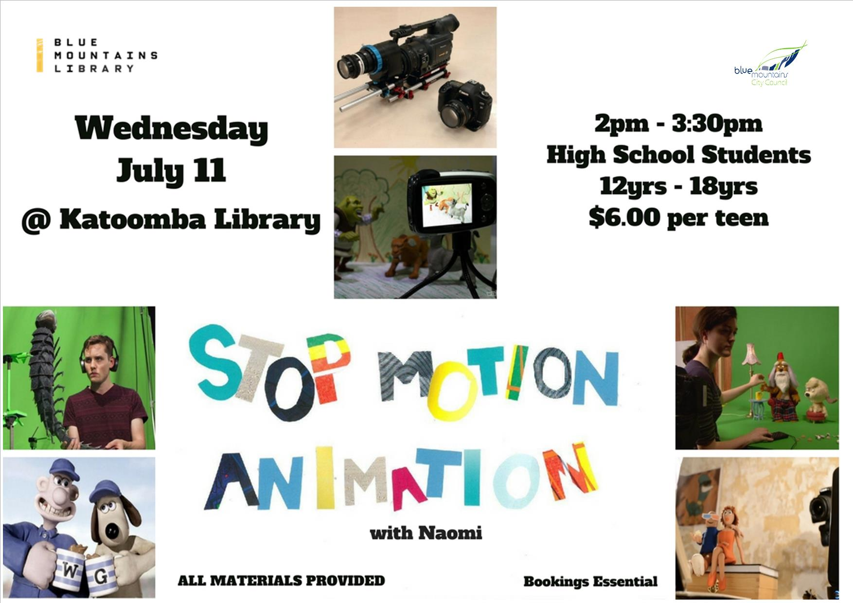 Stop-motion Animation, Katoomba Library, Wednesday 11th July, 2-3:30pm, 12-18yrs $6 per teen