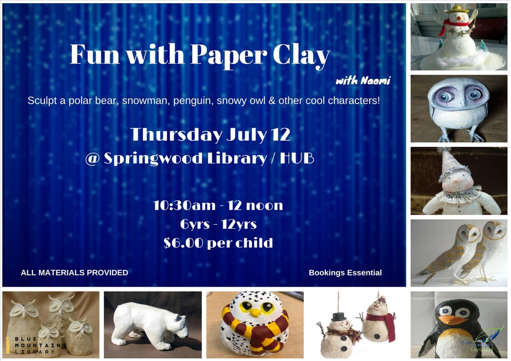Fun with Paper Clay, Springwood Library, Thursday 12th July 10:30am - 12noon, 6-12 years, $6 per child