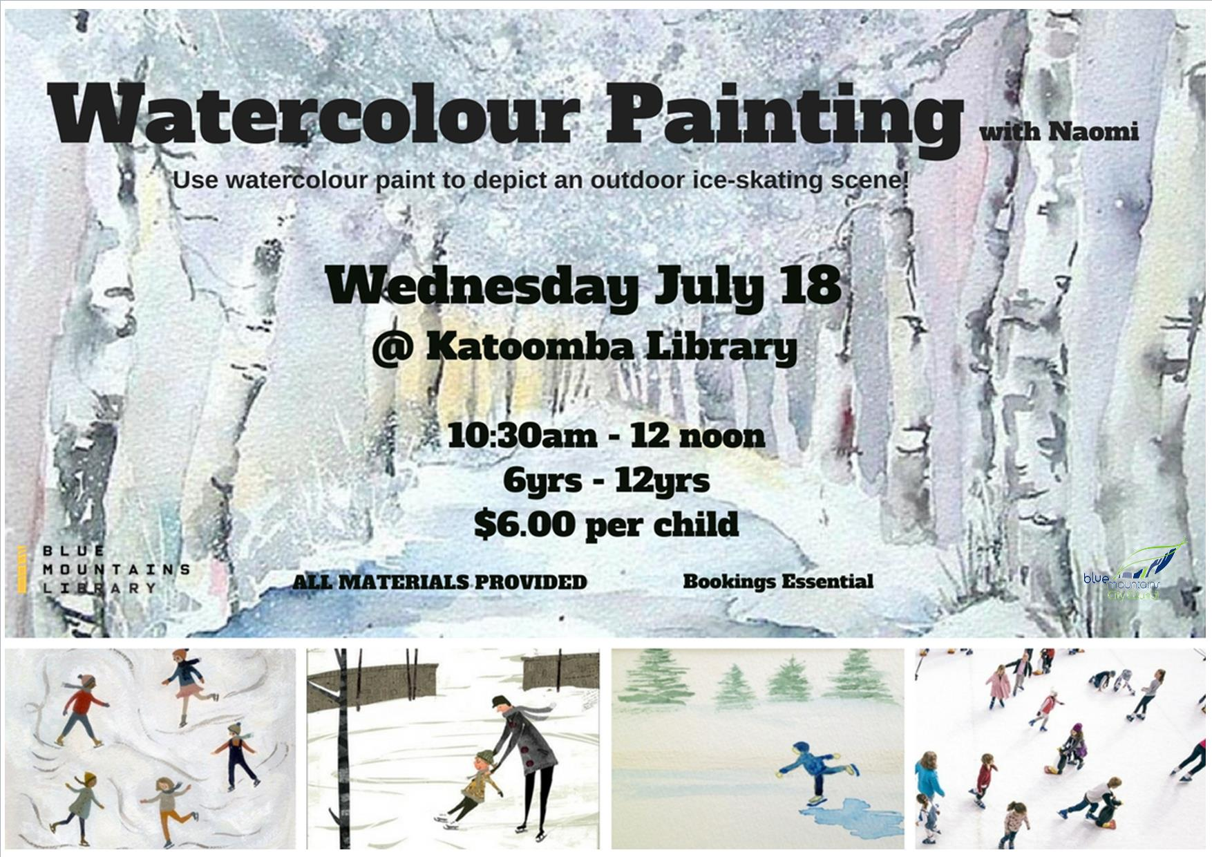 Watercolour Painting, Katoomba Library, Wednesday 18th July, 10:30-12noon, 6-12yrs, $6 per child