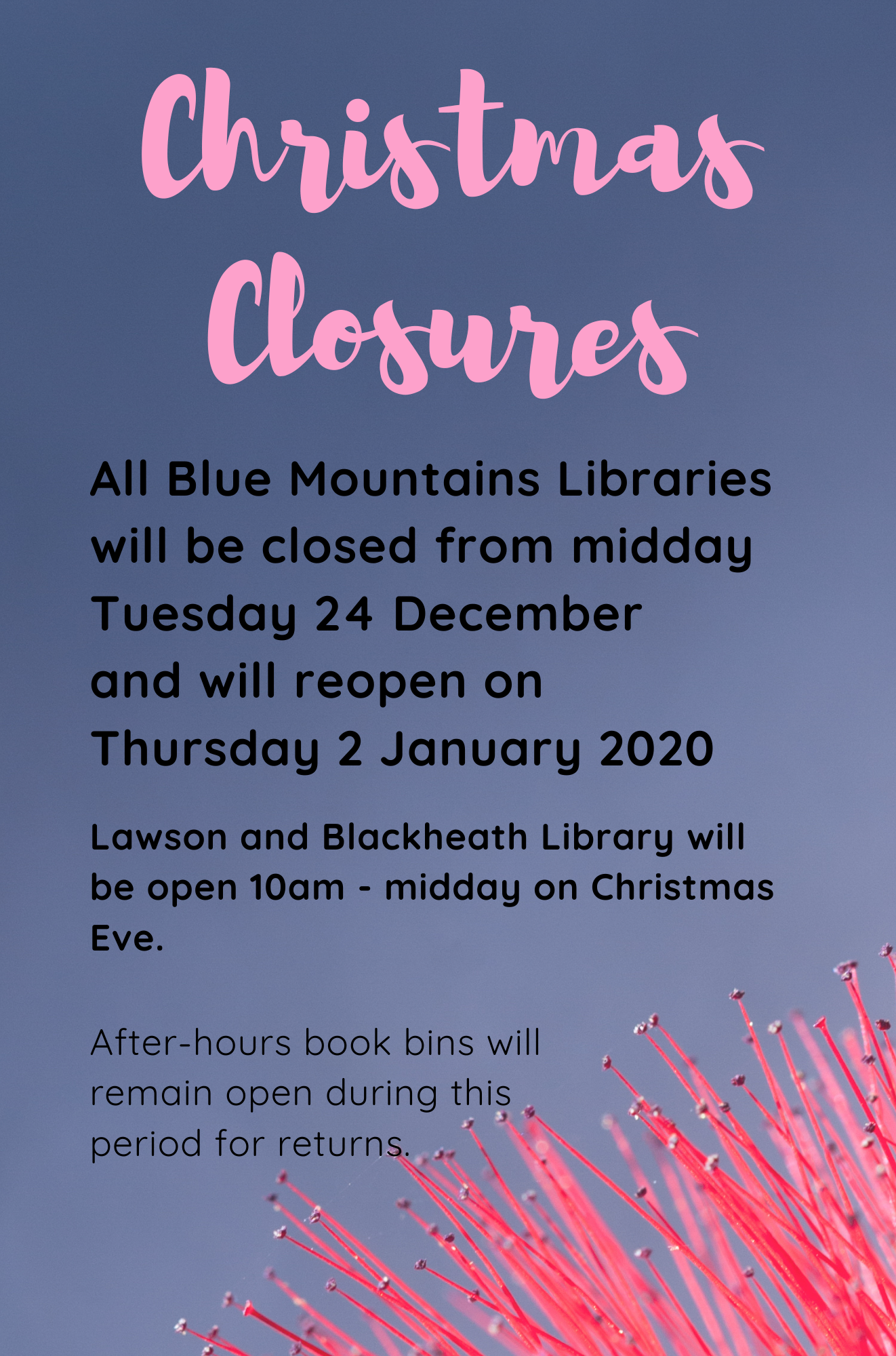 All branches will close at midday on Tuesday 24th of December and reopen Thursday 2nd January